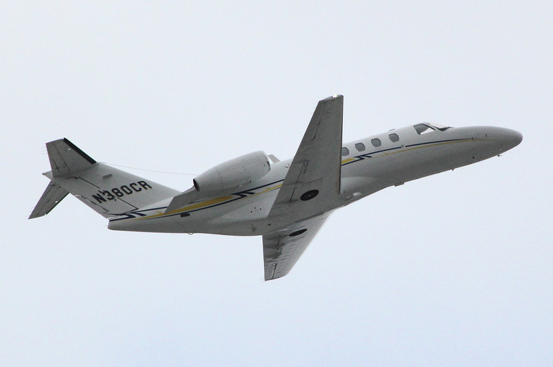 Cessna 525 CitationJet CJ1, N380CR, departing to LBA.<br /> By Clive Featherstone.