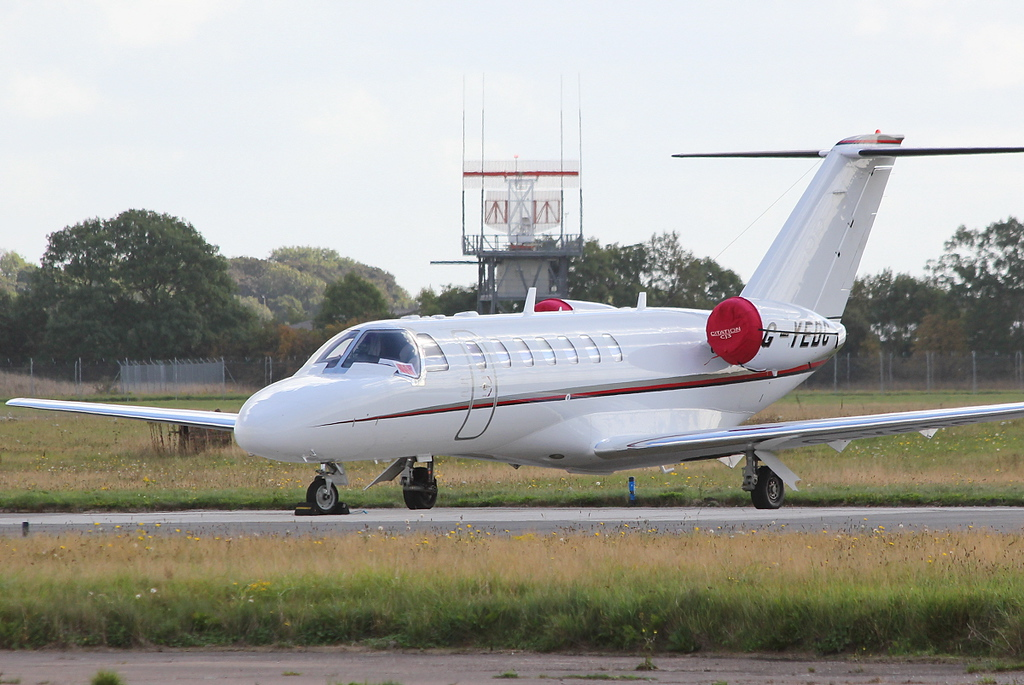 Air Charter Scotland, Cessna 525B CitationJet CJ3, G-YEDC.<br /> By Clive Featherstone.