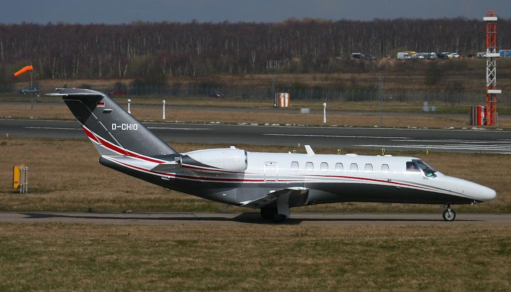 Following a maintenance, E-Aviation, Cessna 525B CitationJet CJ3, D-CHIO, taxis for departure.<br /> By Jim Calow.