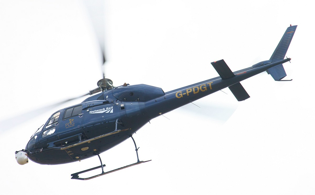 Network Rail (PDG Helicopters), AS355F2 Ecureuil II, G-PDGT.<br /> By Jim Calow.