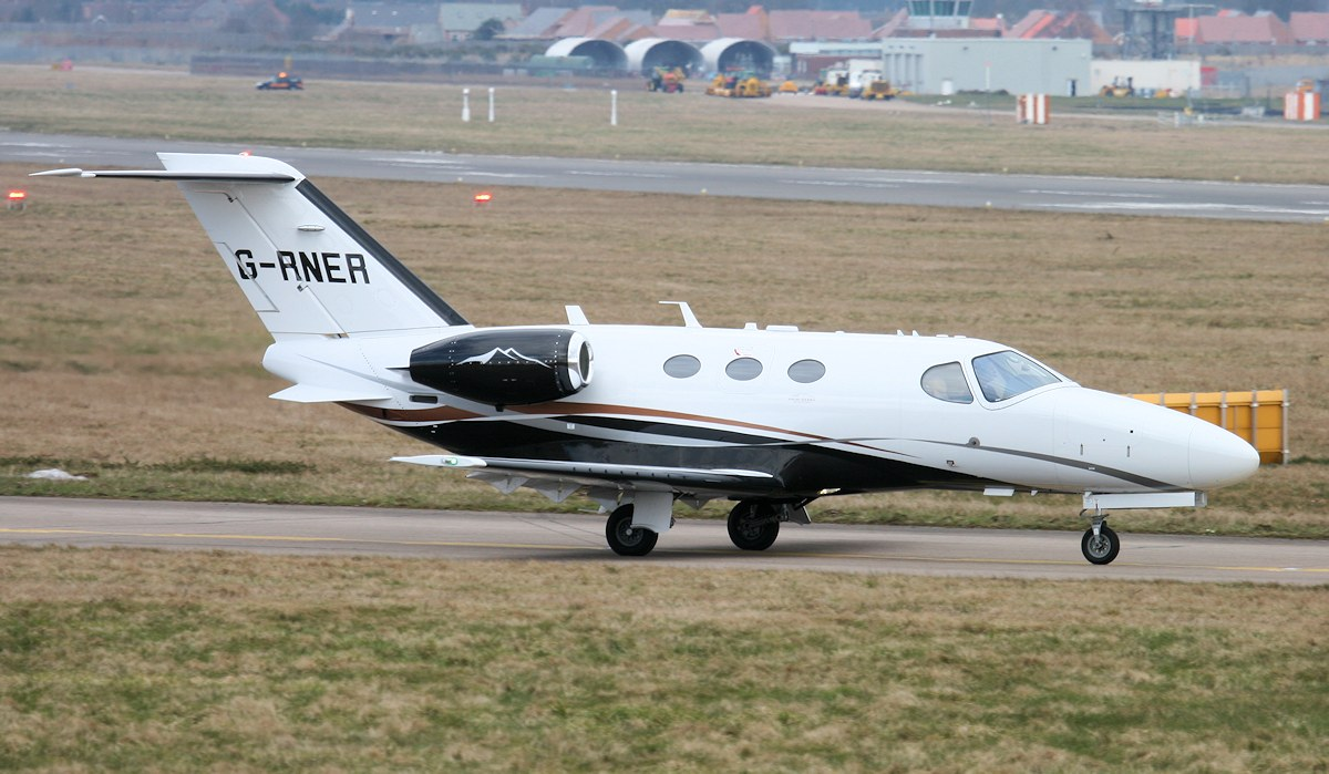 Cessna 510 Citation Mustang, G-RNER about to depart for Gamston.<br /> By Jim Calow.