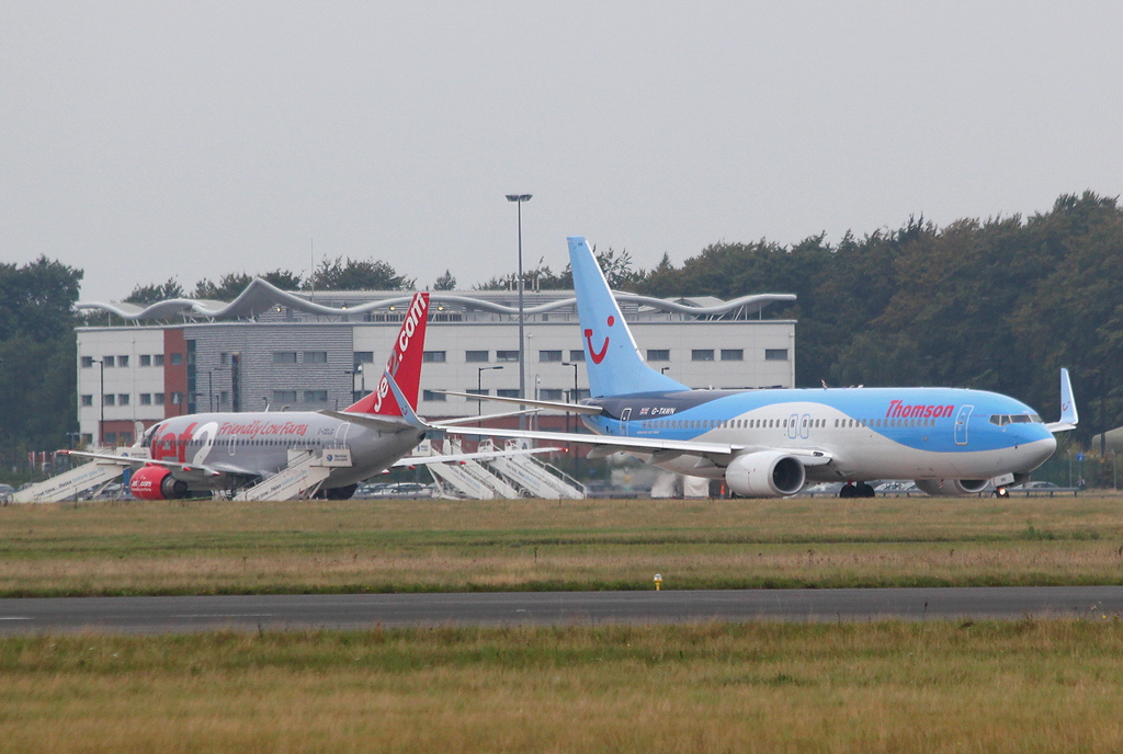 Jet2 737-300, G-CELG & Thomson Airways 737-800, G-TAWN.<br /> By Clive Featherstone.