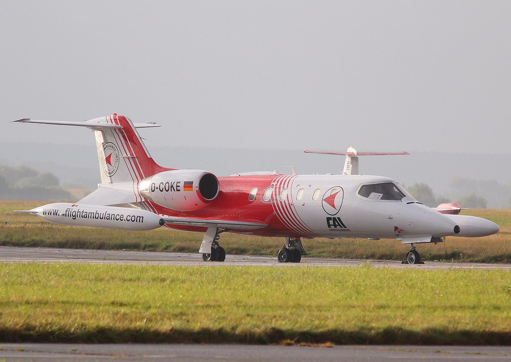 Flight Ambulance International, Learjet 35A, D-COKE.<br /> By Correne Calow.