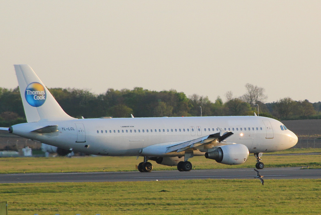Thomas Cook A320 (on lease from SmartLynx), YL-LCL.<br /> By Clive Featherstone.