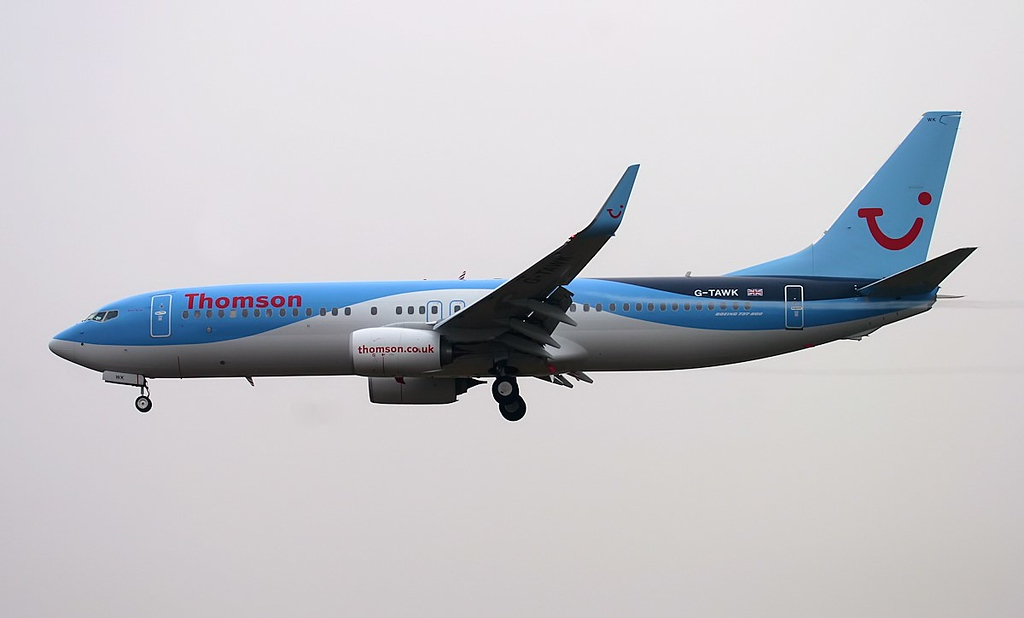 Thomson Airways 737-800 G-TAWK.<br /> By Jim Calow.