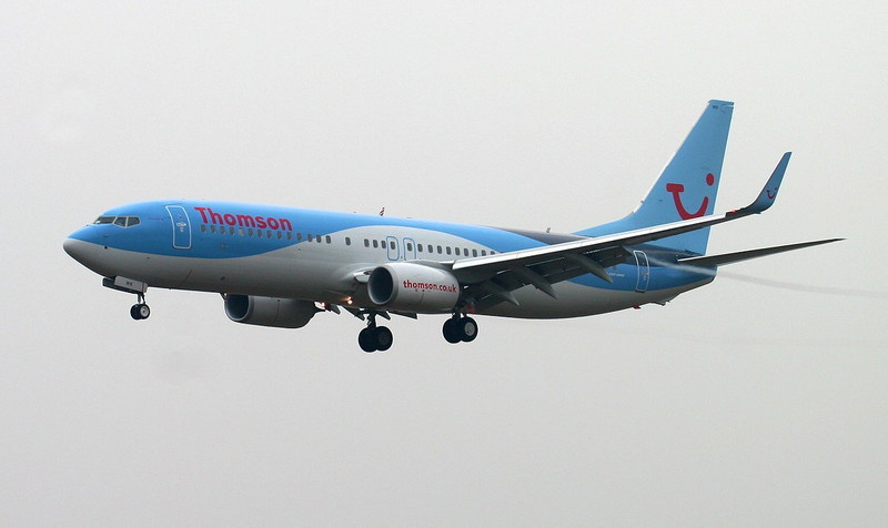 Thomson Airways 737-800 G-TAWK arriving from Tenerife.<br /> By Jim Calow.