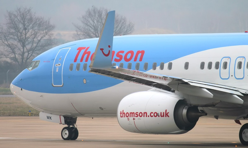 Thomson Airways 737-800 G-TAWK lined-up for departure to Tenerife.<br /> By Jim Calow.