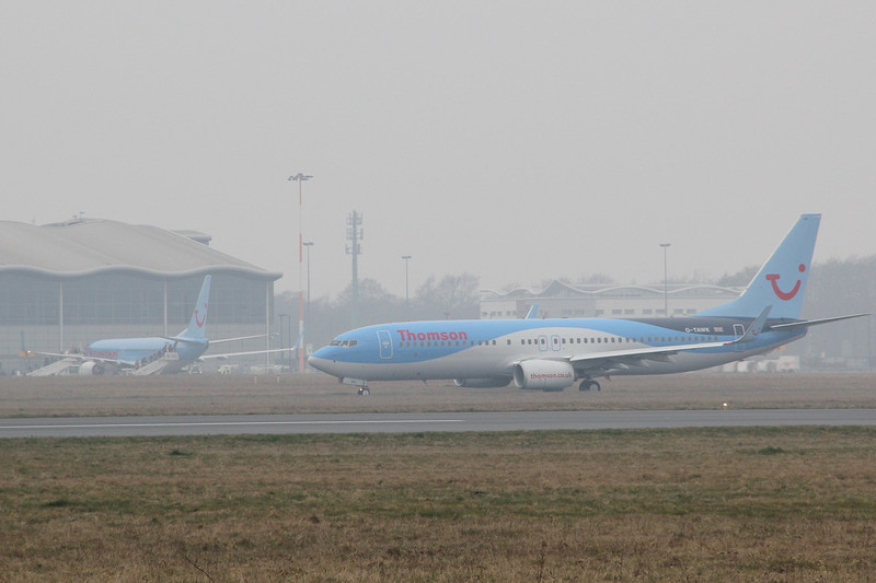 Thomson Airways 737-800 G-TAWK taxis for departure.<br /> By Clive Featherstone.