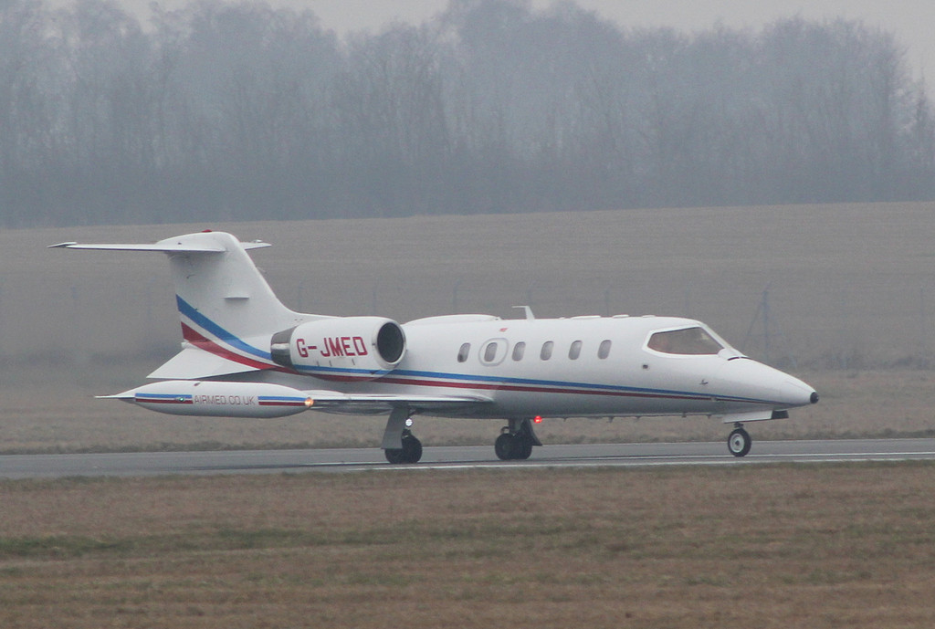 Air Medical Fleet, Learjet 35A, G-JMED.<br /> By Clive Featherstone.