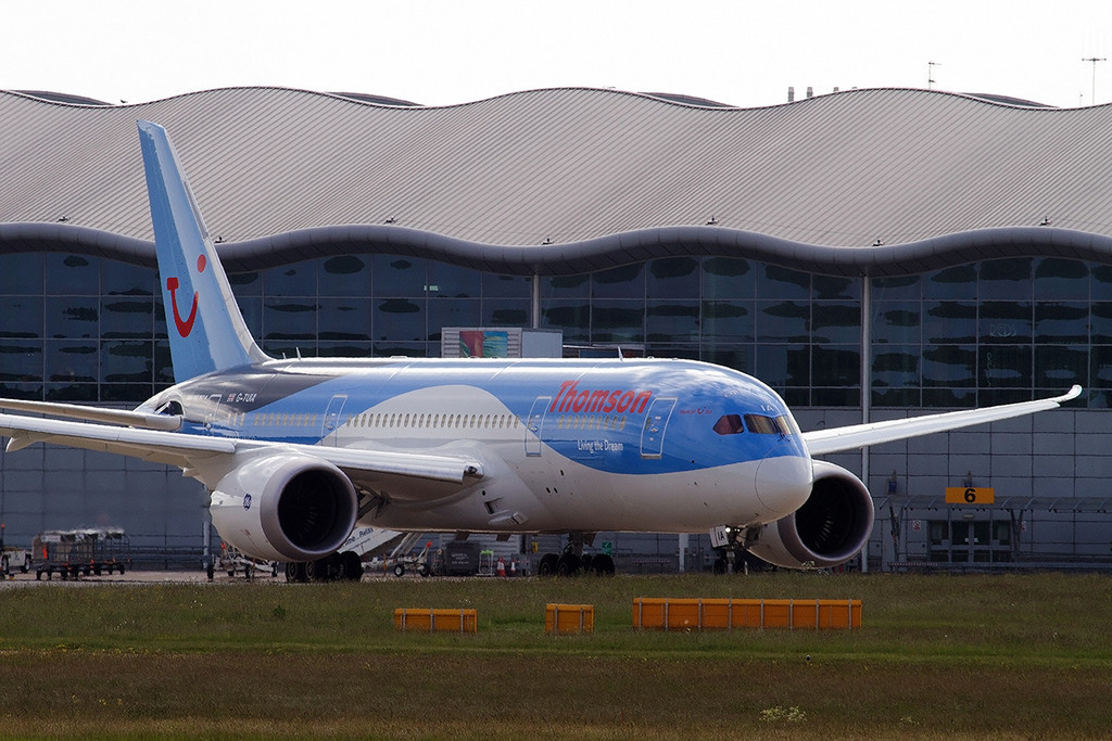 G-TUIA taxis past the terminal as it prepares to depart.<br /> By Tony Lowther.