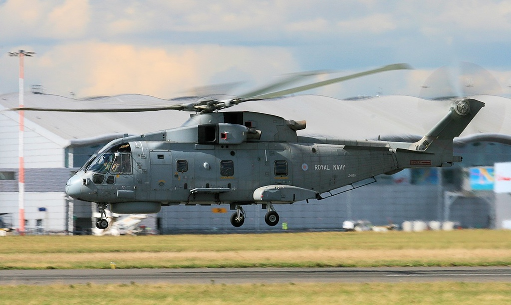 Departing for Culdrose.......... Royal Navy Merlin HM.1, ZH839.<br /> By Jim Calow.