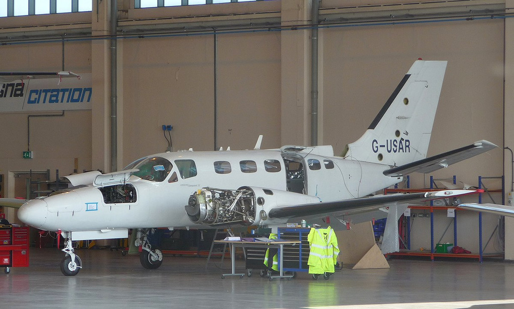 Cessna 441 Conquest II, G-USAR <br /> By Correne Calow.