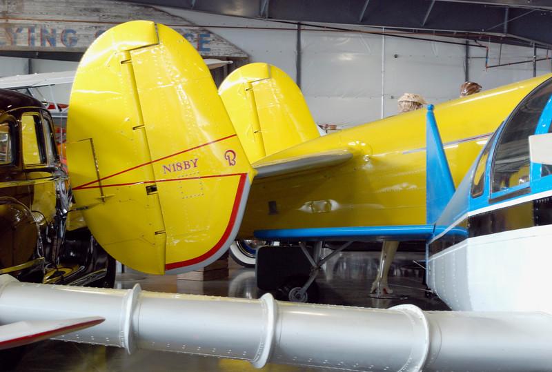 Emigh Trojan A-2 1948 wing detail w Beech 1957 E18S rear rt