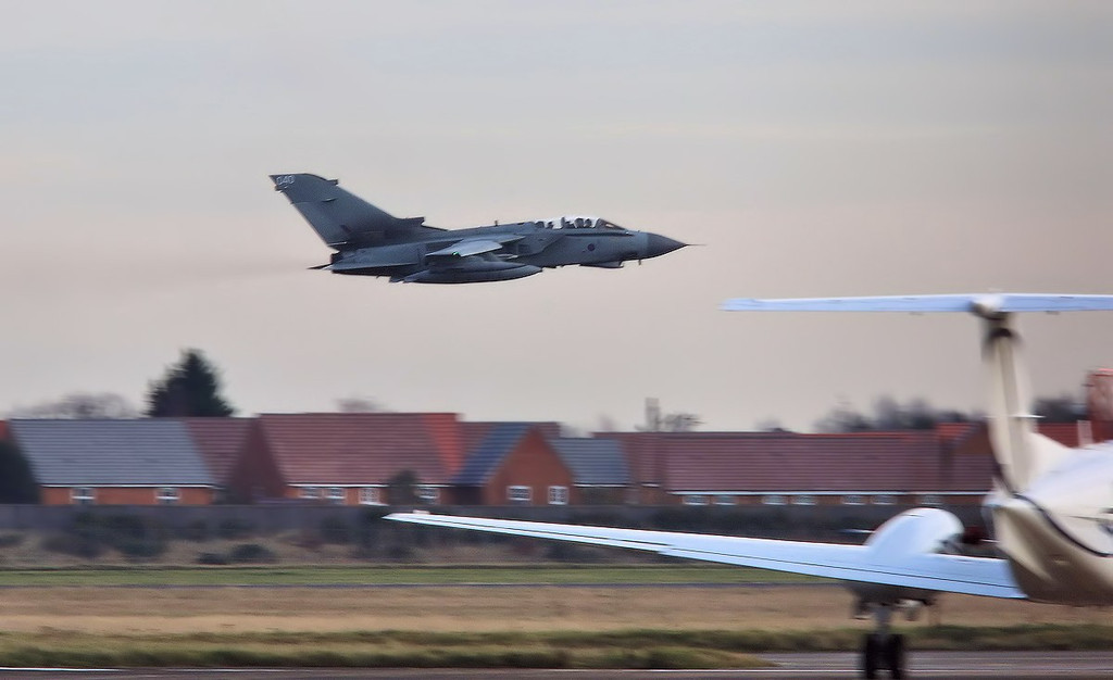 LOS27 Tornado GR4 ZA548/040 made a missed approach and low pass along rnwy 20.<br /> By Correne Calow.