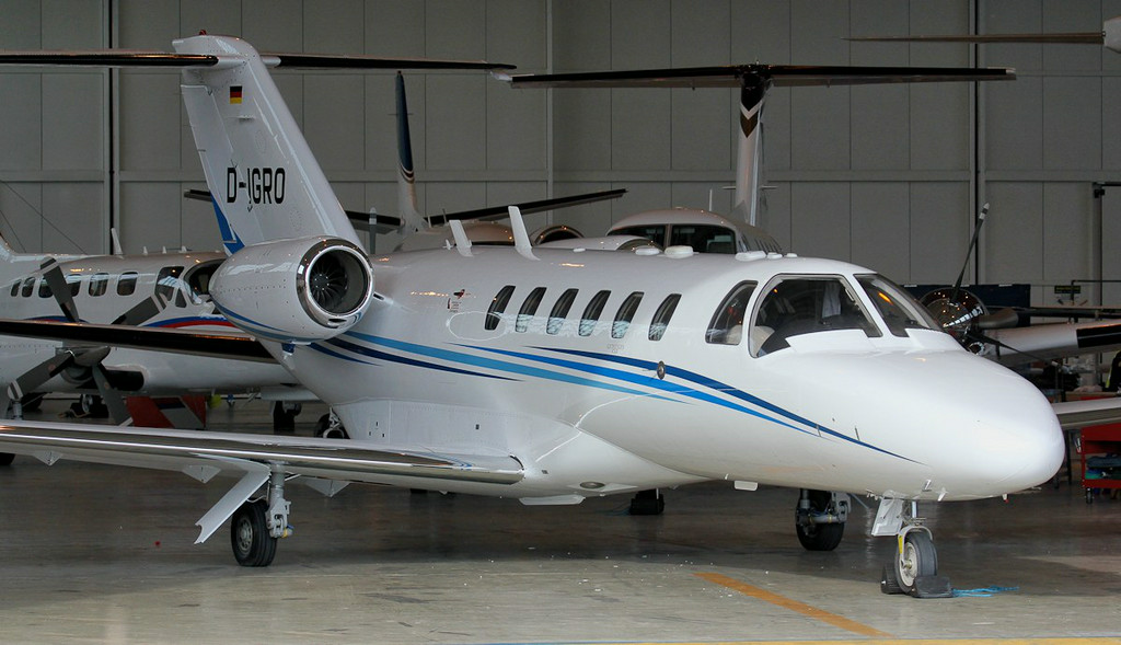 Resplendent in its new coat of paint.......Cessna 525A Citationjet CJ2 D-IGRO.<br /> By Jim Calow.