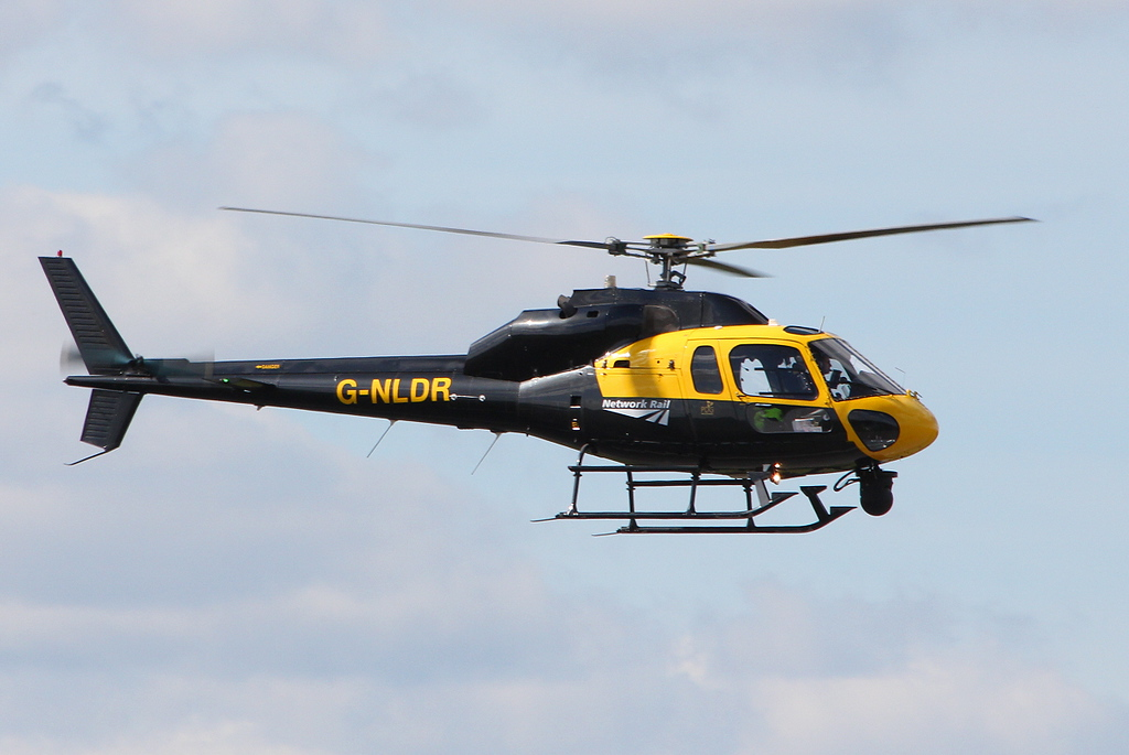 Network Rail, AS-355F2 Twin Squirrel. G-NLDR returns to the field by just after 1305<br /> By Clive Featherstone.