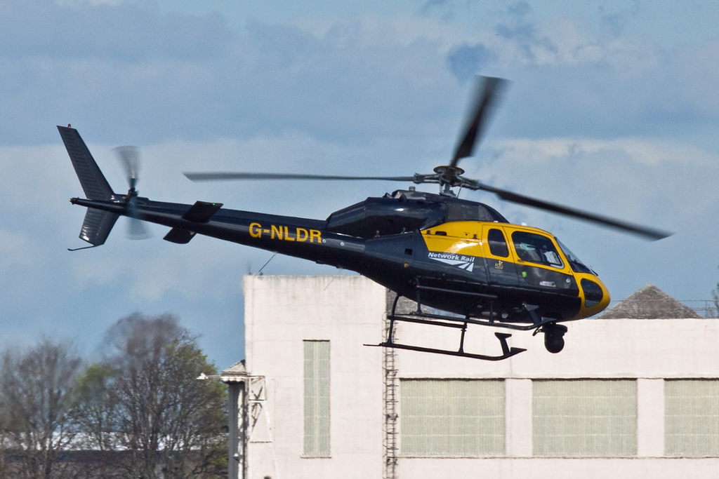 AS-355F2 Twin Squirrel, G-NLDR (NetworkRail Long Distance and Regional) departs shortly after 1115<br /> By David Bladen.