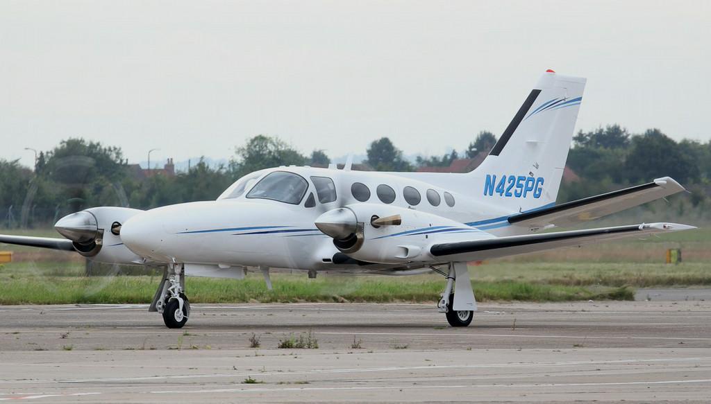 """Cessna 425 Conquest I """"Blackhawk XP"""" N425PG<br /> By Jim Calow."""