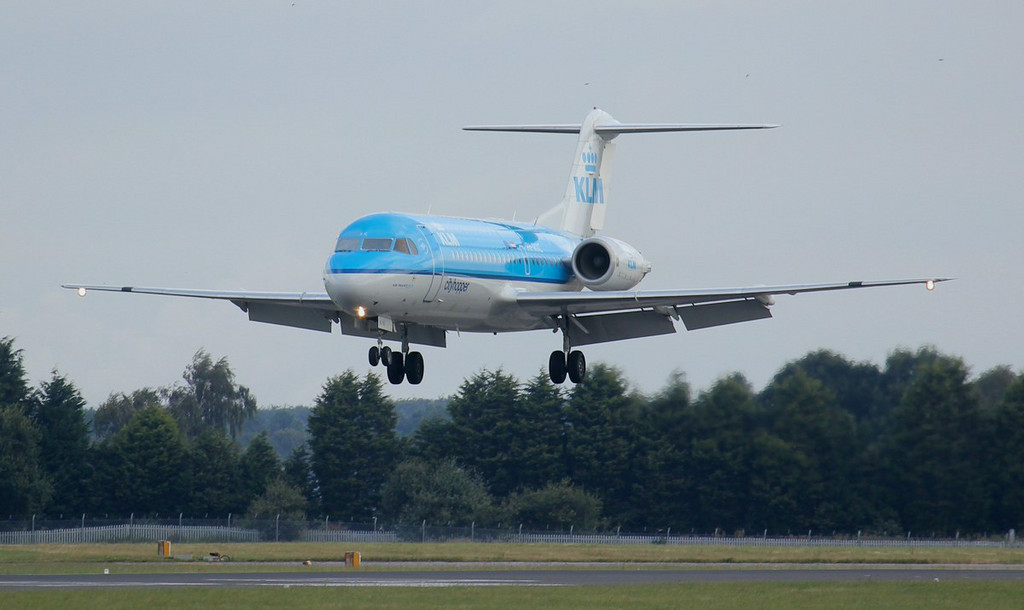 KLM Fokker 70, PH-WXC, arrived from Amsterdam around 08:00 this morning for several hours of training.<br /> By Jim Calow.