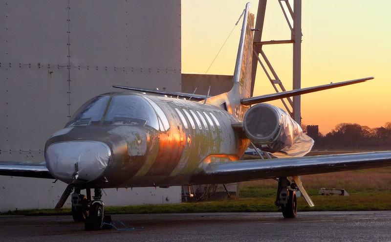 Next in line for the paintshop.......Cessna 550B Citation Bravo, D-CCAB.<br /> By Correne Calow.
