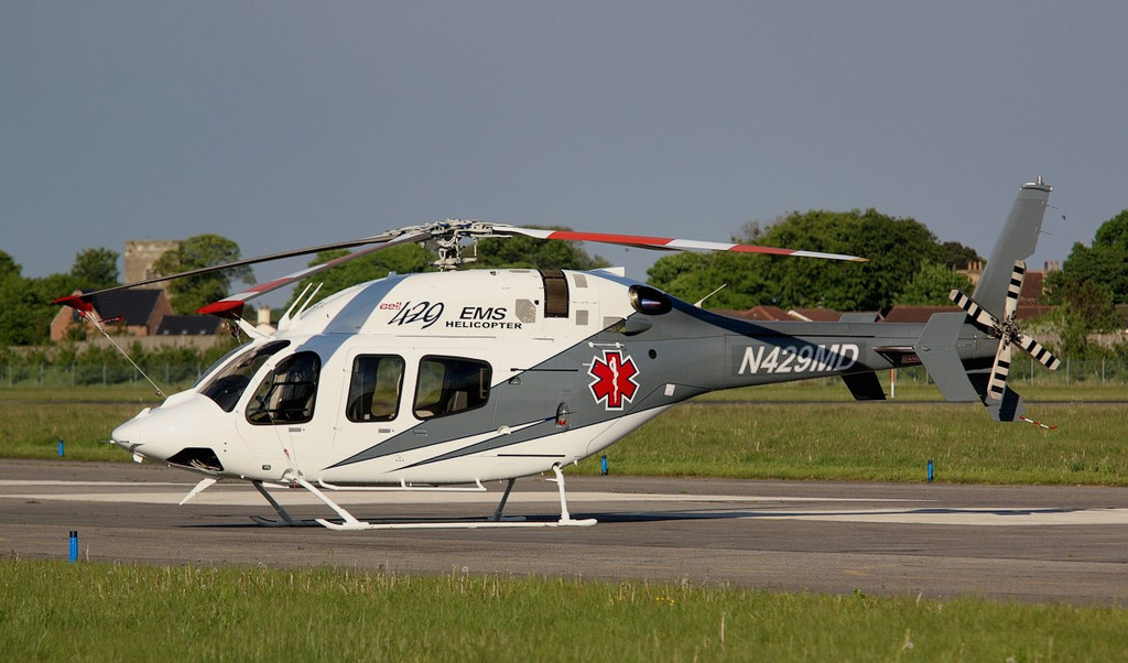 Bell Helicopter's demonstrator aircraft., This Bell 429 Global Ranger N429MD makes a fine sight in the early evening sun.<br /> By Correne Calow