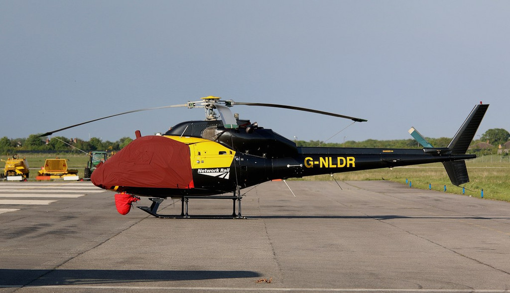 Network Rail's Aerospatiale AS355F2 Ecureuil II, G-NLDR was bedded down for the night.<br /> By Correne Calow.