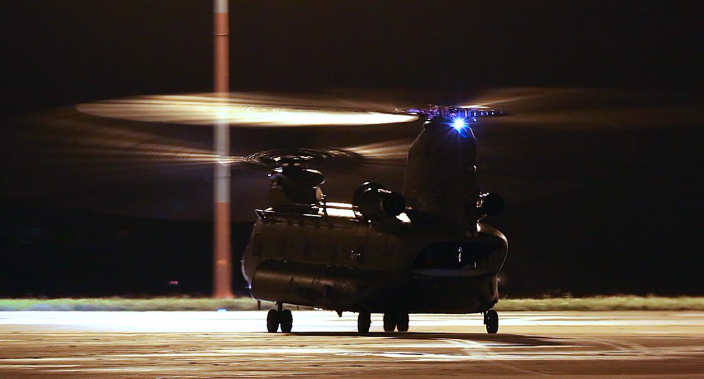 The Chinook departed shortly after 18:00.<br /> By Jim Calow.