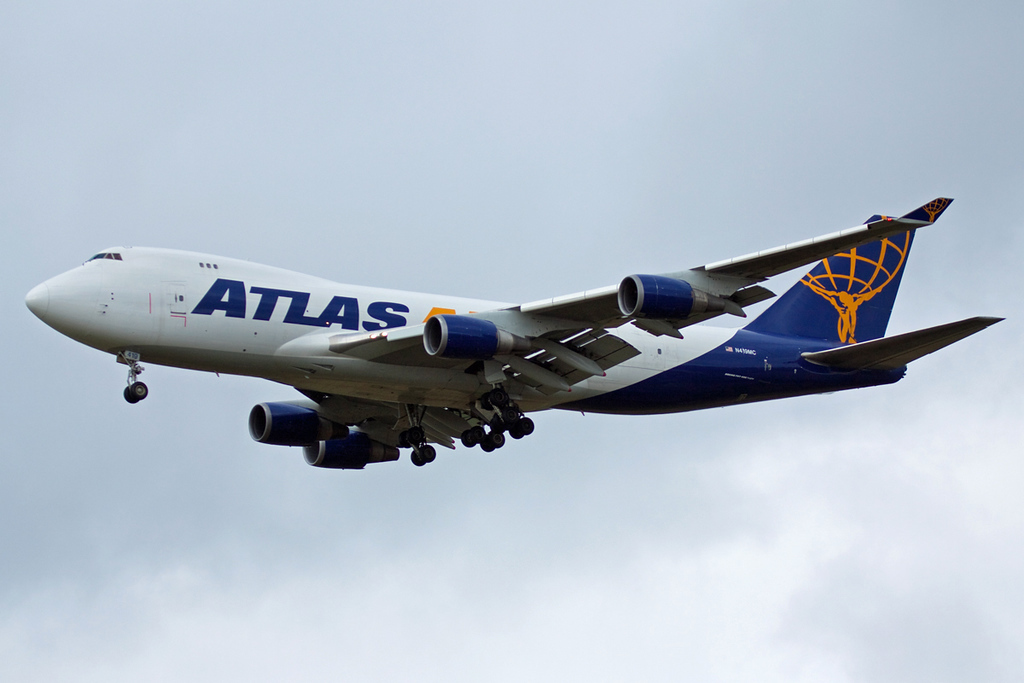 On finals for runway 20.........Atlas Air 747-400F, N419MC <br /> By David Bladen.