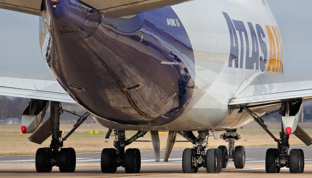 Atlas Air 747-400F, N419MC back-tracks along the runway.<br /> By Jim Calow.