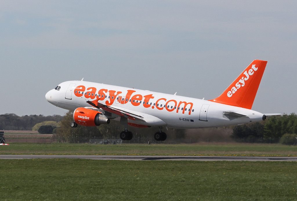 easyJet Airbus A319, G-EZVA<br /> By Clive Featherstone.