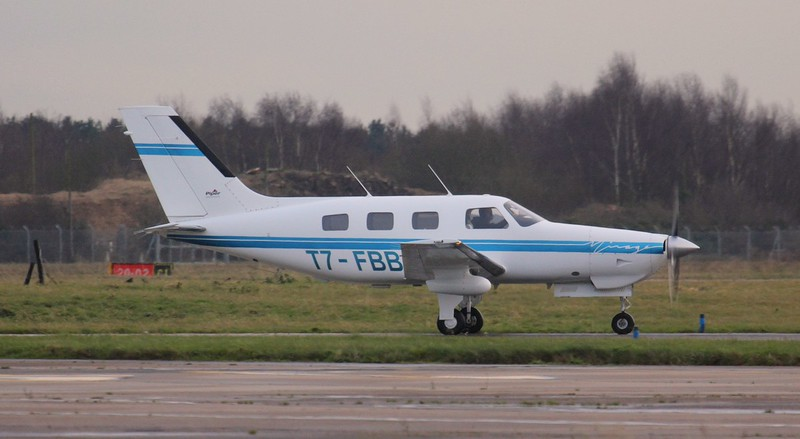 An interesting visitor this afternoon was this Piper PA-46-350P Malibu Mirage, T7-FBB which arrived from Turin.<br /> By Jim Calow.