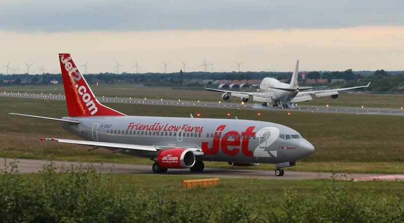 Jet2 737-300 G-CELF holds before departing to Leeds.<br /> By Correne Calow.