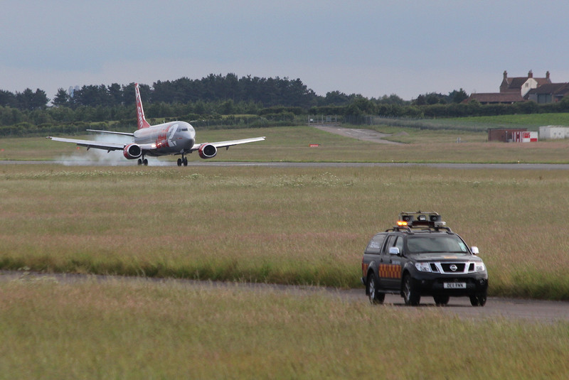 Jet2 737-300 G-CELF spent a couple of hours training early evening.<br /> By Clive Featherstone.