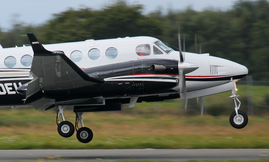 Beechcraft's European demonstrator, Beech 350 Super King Air, N800EU.<br /> By Jim Calow.