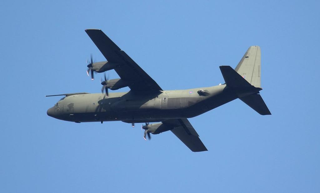 Hercules C.4 ZH874 departing for Edinburgh.<br /> By Jim Calow.