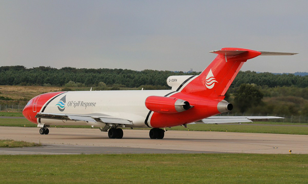 T2 Aviation 727-200 G-OSRA.<br /> By Jim Calow.
