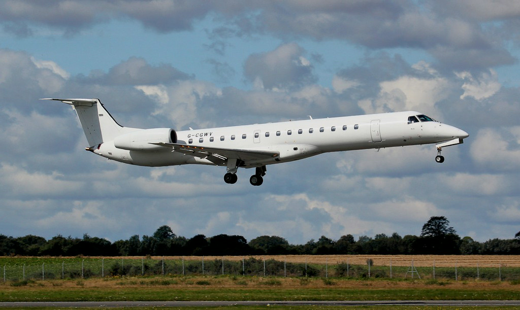 Arriving from Luton this morning.............Eastern Airways Embraer EMB-145MP, G-CGWV.<br /> By Jim Calow.