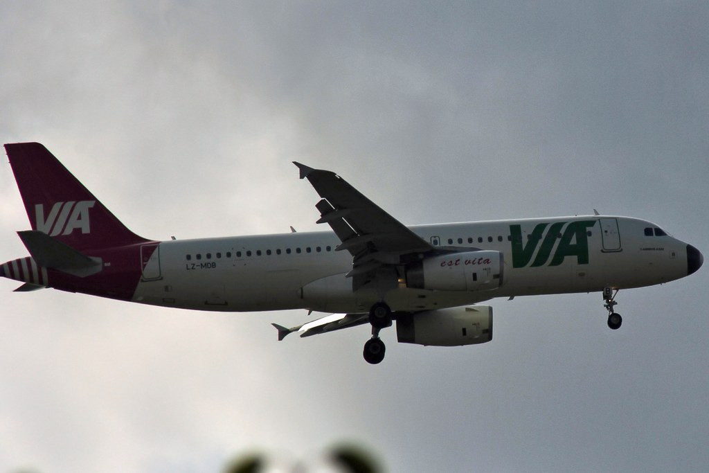 Operating todays Balkan Holidays flight was this Air Via A320, LZ-MDB.<br /> By Graham Vlacho.