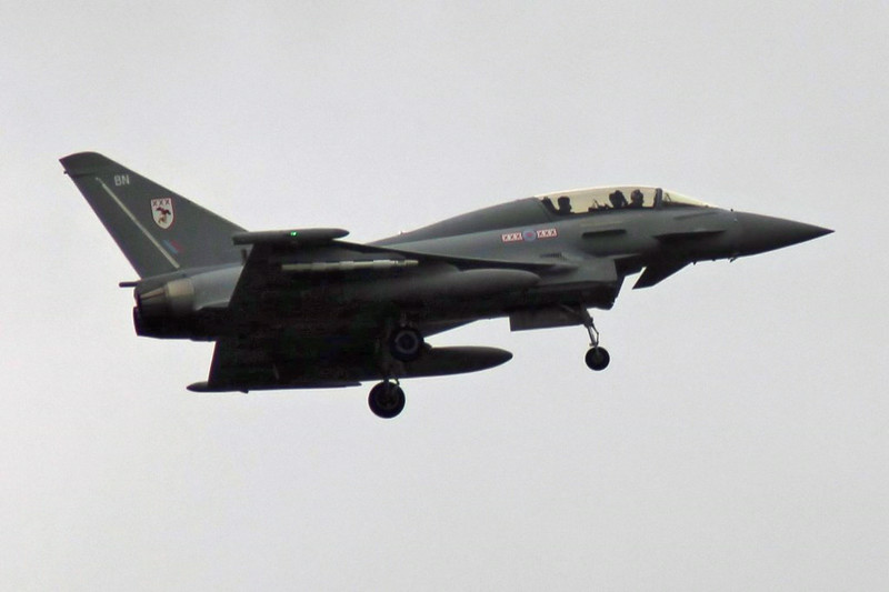 Typhoon T.3 ZK383/BN made a training approach mid afternoon.<br /> By Graham Vlacho.