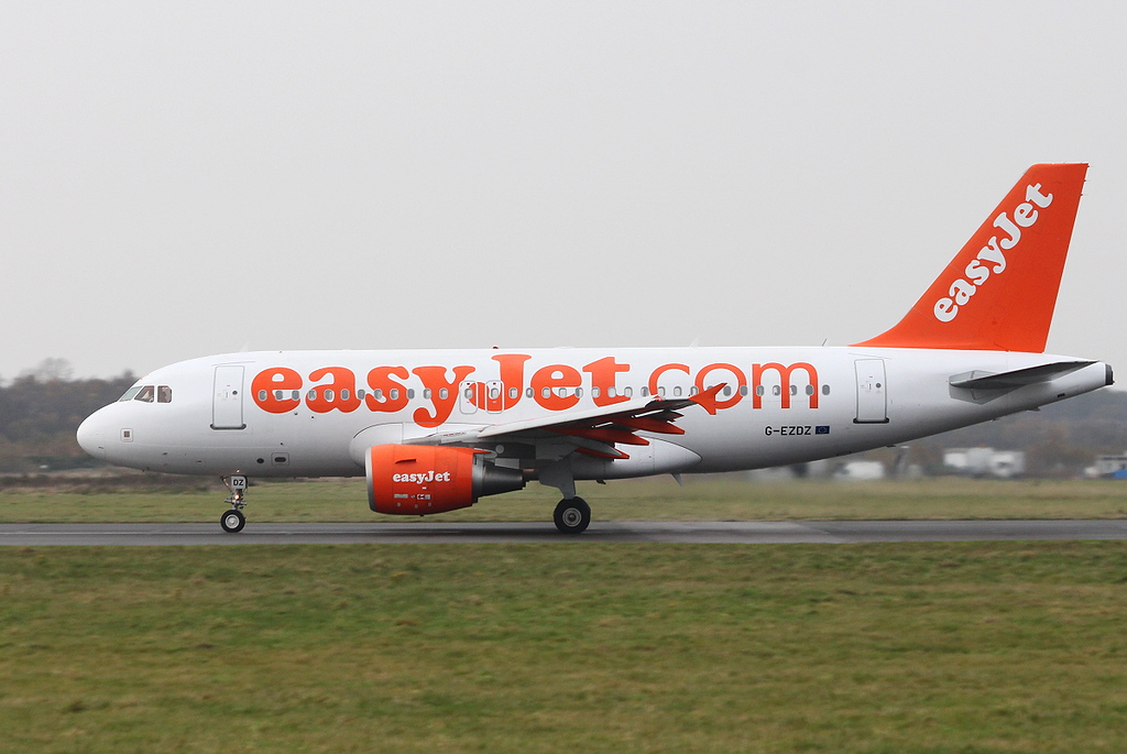 easyJet A319, G-EZDZ<br /> By Clive Featherstone.