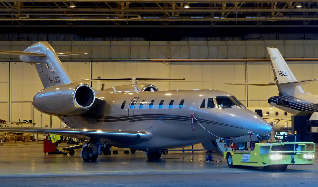 Cessna 750 Citation X, EI-LEO awaiting an early morning tow out of the Cessna Hangar<br /> By Correne Calow.
