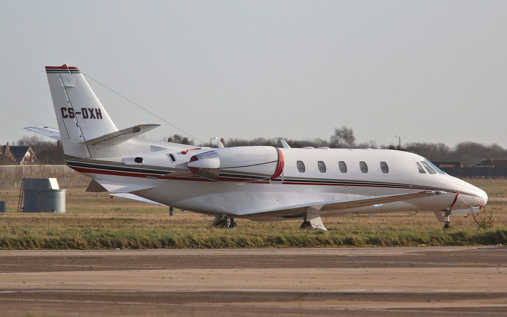 Resplendent in it's new paintwork.......NetJets Europe Cessna 560XL Citation XLS, CS-DXH.<br /> By Correne Calow.