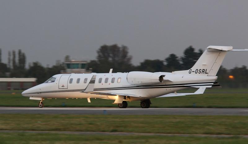 Hangar 8, Learjet 45, G-OSRL.<br /> By Correne Calow.