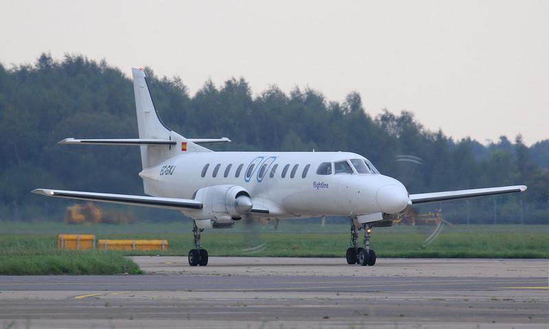 Flightline Swearingen SA.226TC Metro II, EC-GXJ, arrived late afternoon operating a cargo flight.<br /> By Jim Calow.