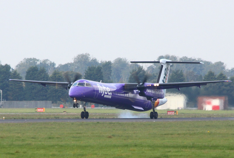 """Circuit training this afternoon was Flybe's DHC-8-400, G-JECE, it is the first """"Purpleised"""" example to visit DSA.<br /> By Clive Featherstone."""