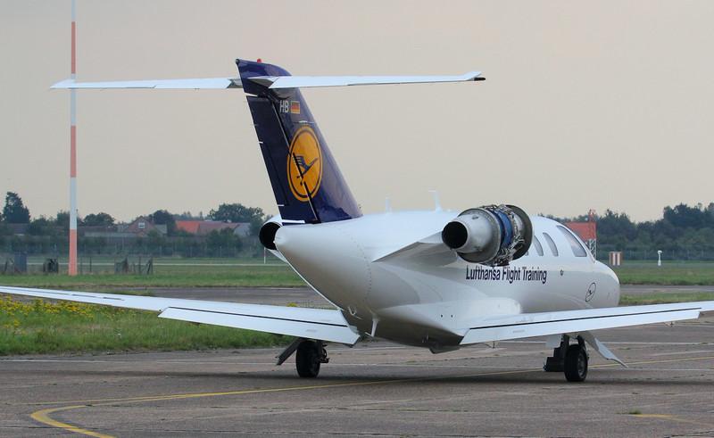 Lufthansa Flight Training Cessna 525 Citation CJ1+, D-ILHB, finally emerged wearing its new livery.<br /> By Jim Calow.