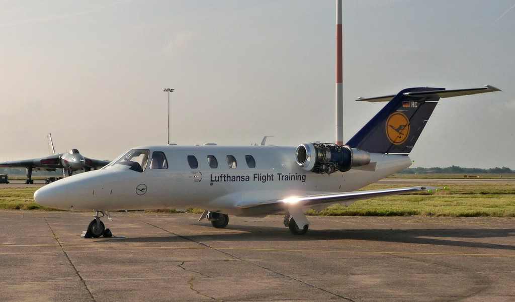 Lufthansa Flight Training Cessna 525 CitationJet CJ1+ D-ILHC sits on the maintenance apron soaking up the early morning sun.<br /> By Correne Calow.