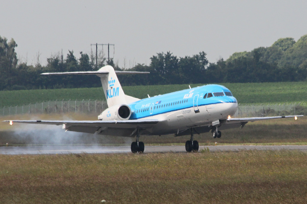 KLM Fokker 70 PH-WXD arrived shortly before 10:30am for crew training.<br /> By Clive Featherstone.