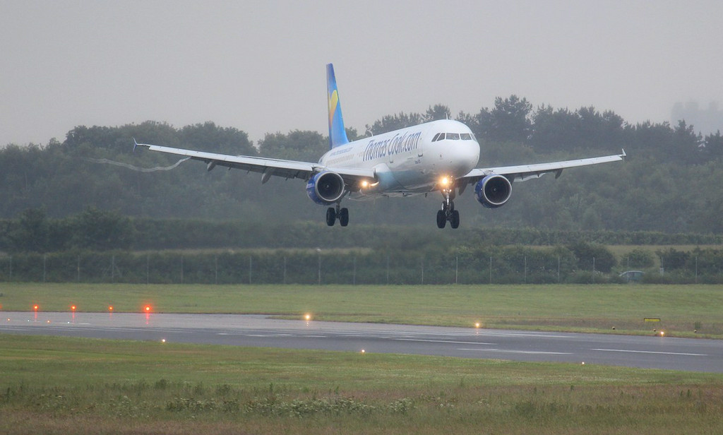 Thomas Cook A321 G-NIKO arrives at a very wet DSA just before 15:00.<br /> By Jim Calow.