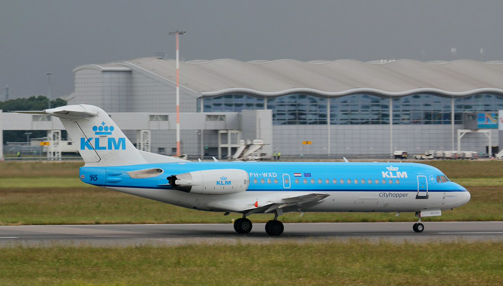 KLM Fokker 70 PH-WXD.<br /> By Jim Calow.
